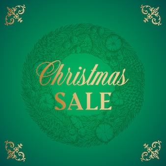Kerst verkoop abstract vector retro label teken of kaart sjabloon hand getrokken cirkel grenen krans sketc...