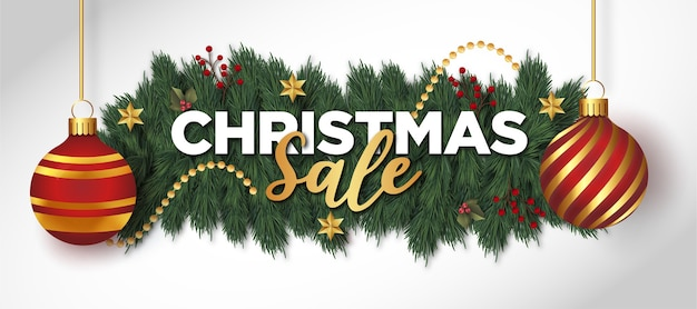Kerst verkoop achtergrond met realistische kerstversiering