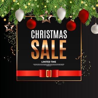 Kerst verkoop achtergrond sjabloon. illustratie