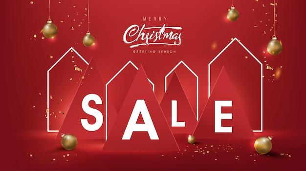 Kerst verkoop banner achtergrond samenstelling in papier gesneden stijl en huis neonteken