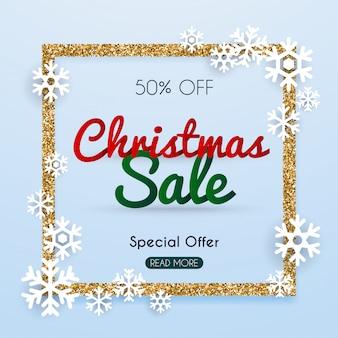 Kerst verkoop banner in een frame van gouden glitter met sneeuwvlokken.