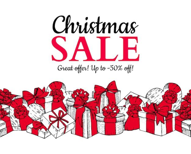 Kerst verkoop banner. met geschenkdozen