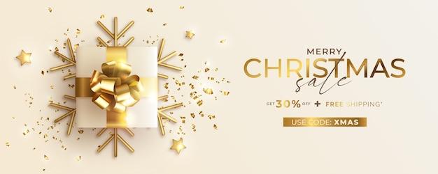 Kerst verkoop banner met realistische cadeautjes