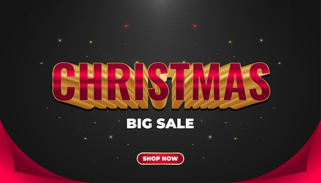 Kerst verkoop banner met rode en gouden tekst