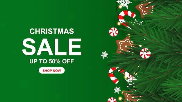 Kerst verkoop banner met snoep.