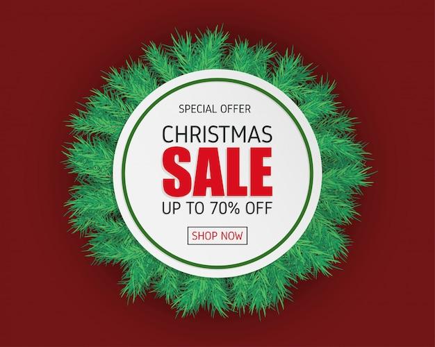 Kerst verkoop banner met spar