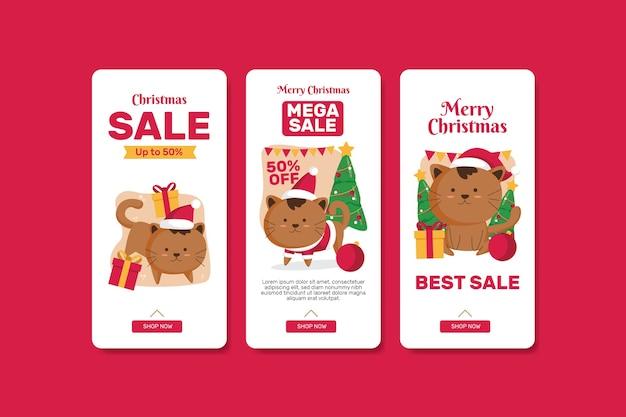 Kerst verkoop banner set