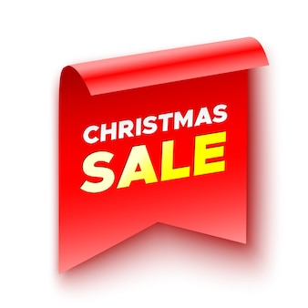 Kerst verkoop banner. sticker. rood lint. papieren scroll.
