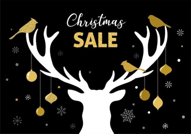 Kerst verkoop banner, xmas sjabloon achtergrond met hert silhouet.