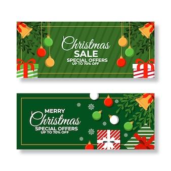Kerst verkoop banners in plat ontwerp