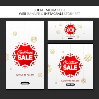 Kerst verkoop banners voor web, social media post en instagram-verhaal