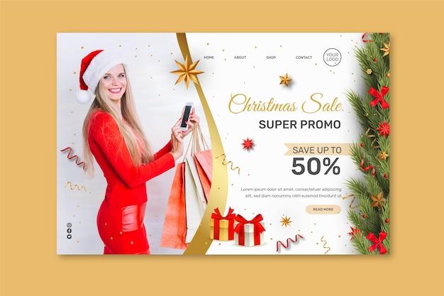 Kerst verkoop bestemmingspagina concept