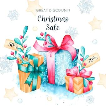 Kerst verkoop concept in aquarel