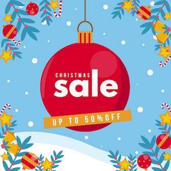 Kerst verkoop concept in plat ontwerp