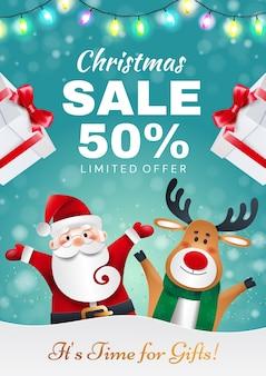 Kerst verkoop. de kerstman en herten met geschenken kondigen vakantiekortingen aan.