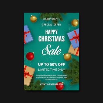Kerst verkoop eenvoudige moderne folder sjabloon