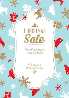 Kerst verkoop en feest sjabloon met tekst over kortingen en wensen op blauw
