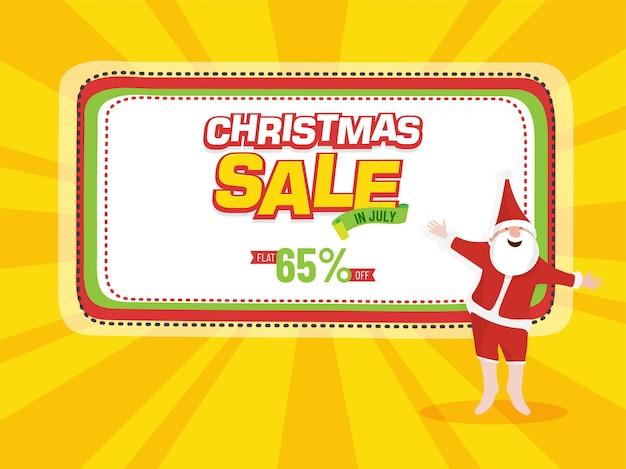 Kerst verkoop flyer met happy santa claus.