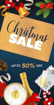 Kerst verkoop flyer ontwerp met champagne