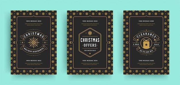 Kerst verkoop flyers of banners instellen kortingsaanbiedingen en sneeuwvlokken patroon met sierlijke decoratie
