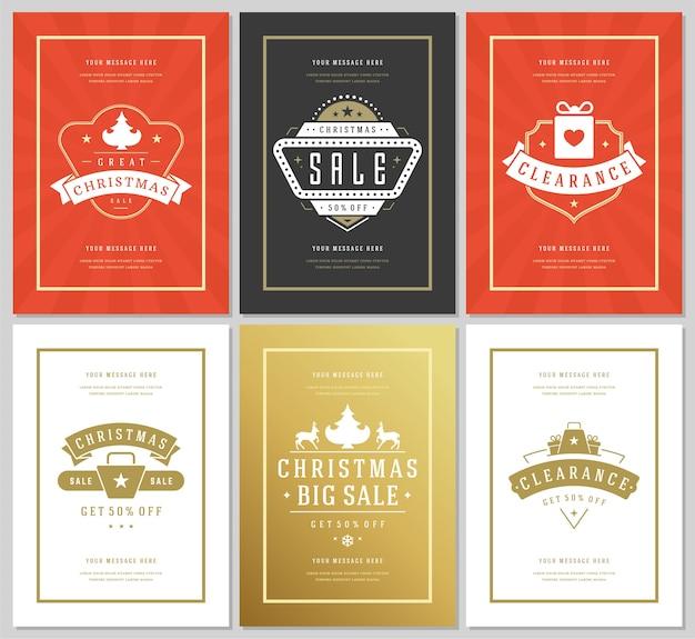 Kerst verkoop flyers of banners ontwerpset kortingsaanbiedingen en sneeuwvlokken patroon achtergrond met sierlijke decoratie