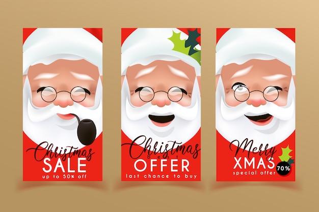 Kerst verkoop flyers sjablonen met santa claus