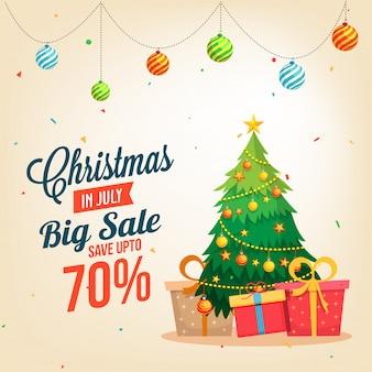 Kerst verkoop in juli banner, met kerstboom.