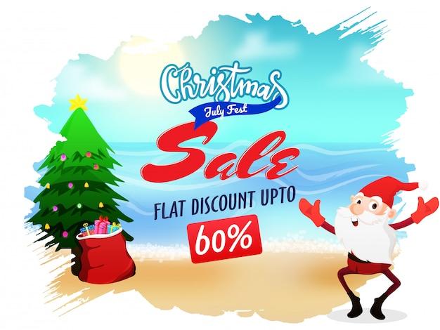 Kerst verkoop in juli flyer met de kerstman.