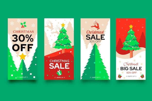 Kerst verkoop instagram verhalen sjabloonverzameling
