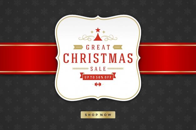 Kerst verkoop labelontwerp op patroon achtergrond