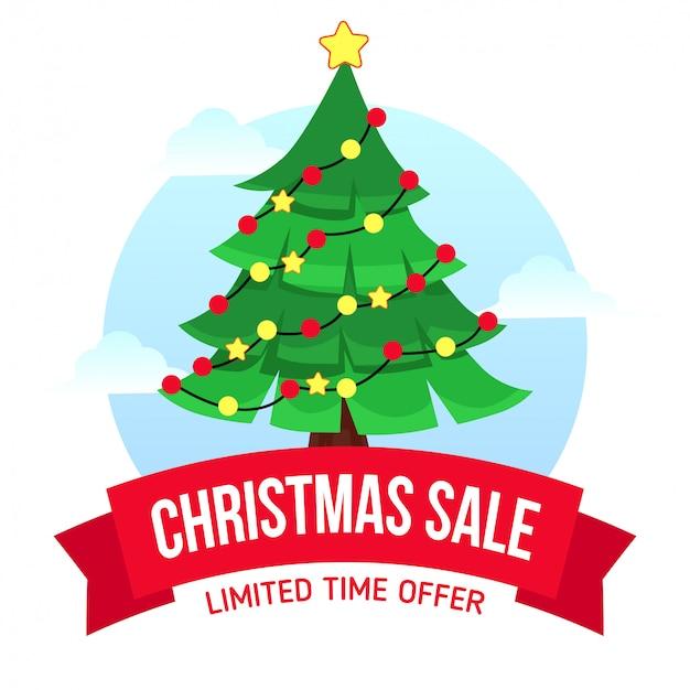 Kerst verkoop met boom