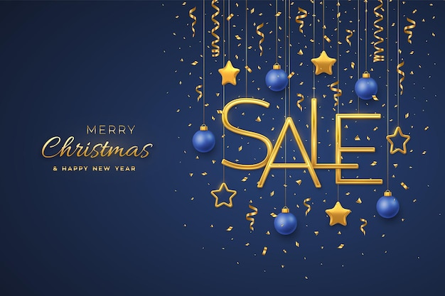Kerst verkoop ontwerpsjabloon voor spandoek. opknoping gouden metalen verkoop letters met 3d metalen sterren, ballen en confetti op blauwe achtergrond. reclameposter of flyer. realistische vectorillustratie.