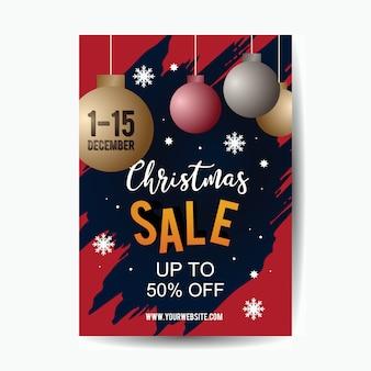 Kerst verkoop poster sjabloon met 3d-pop-art stijl