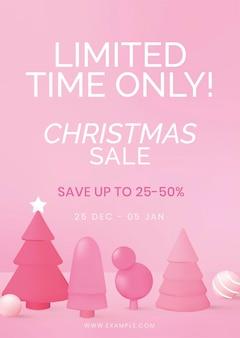 Kerst verkoop poster sjabloon, online winkelen vector