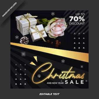 Kerst verkoop promotie instagram sjabloon Premium Vector
