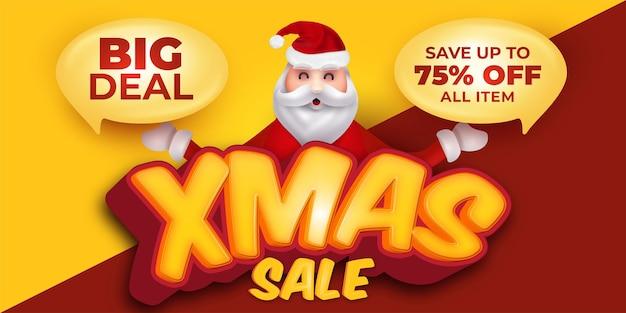 Kerst verkoop promotie wenskaart met karakter van de kerstman
