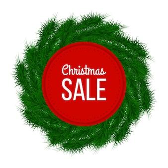 Kerst verkoop reclame banner versierd met spar takken op witte achtergrond, winter verkoop, kerstmis, nieuwjaar ontwerp, vector illustratie.