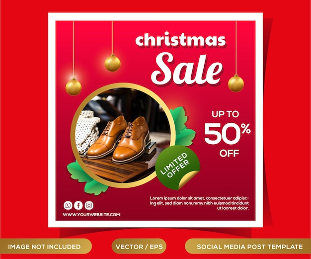 Kerst verkoop sociale media post sjabloon