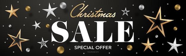 Kerst verkoop speciale aanbieding realistische header banner ontwerp. kortingspromotietekst met 3d gouden en zilveren kerstster en bal. website dekking, voucher of coupon sjabloon vectorillustratie
