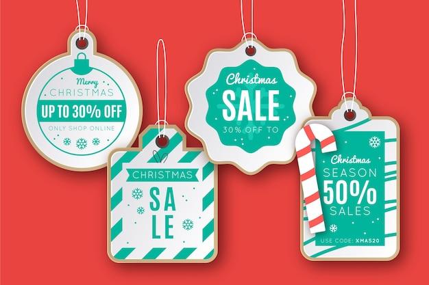 Kerst verkoop tag collectie in papieren stijl