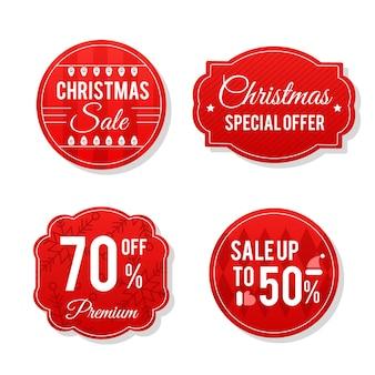 Kerst verkoop tag collectie in plat design