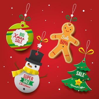 Kerst verkoop tag ingesteld in papierstijl