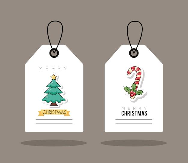Kerst verkoop tags opknoping met dennenboom en suikerriet afbeelding ontwerp