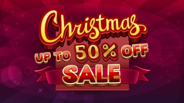 Kerst verkoop taxt geïsoleerd op abstract rood