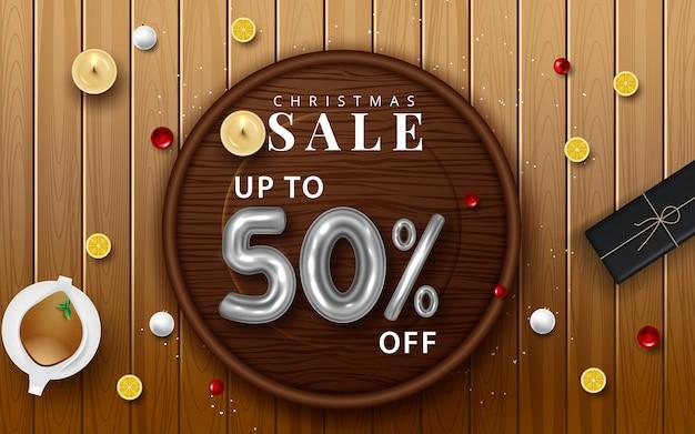 Kerst verkoop vector posterontwerp instellen met verkoop promotionele tekst