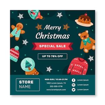 Kerst verkoop vierkante flyer