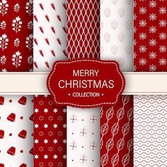 Kerst verschillende naadloze patronen. eindeloze textuur voor behang of inpakpapier