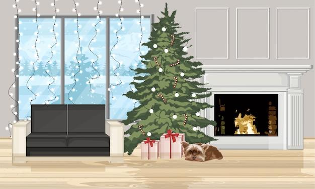 Kerst versierd interieur met boom en open haard