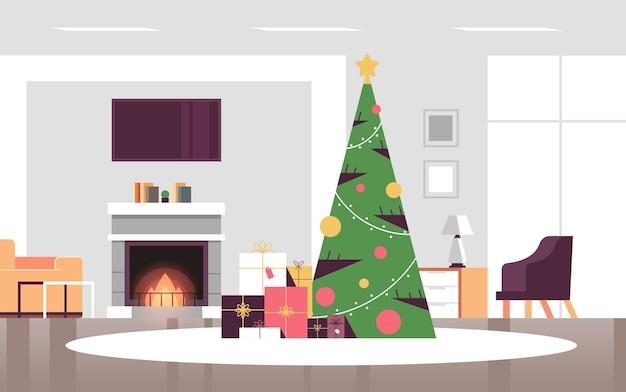 Kerst versierde groene dennenboom met cadeau huidige dozen vrolijk kerstfeest gelukkig nieuwjaar vakantie viering concept moderne woonkamer interieur horizontale vector illustratie