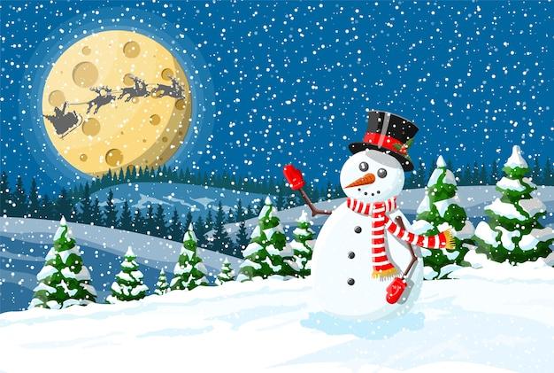 Kerst versierde sneeuwpop achtergrond